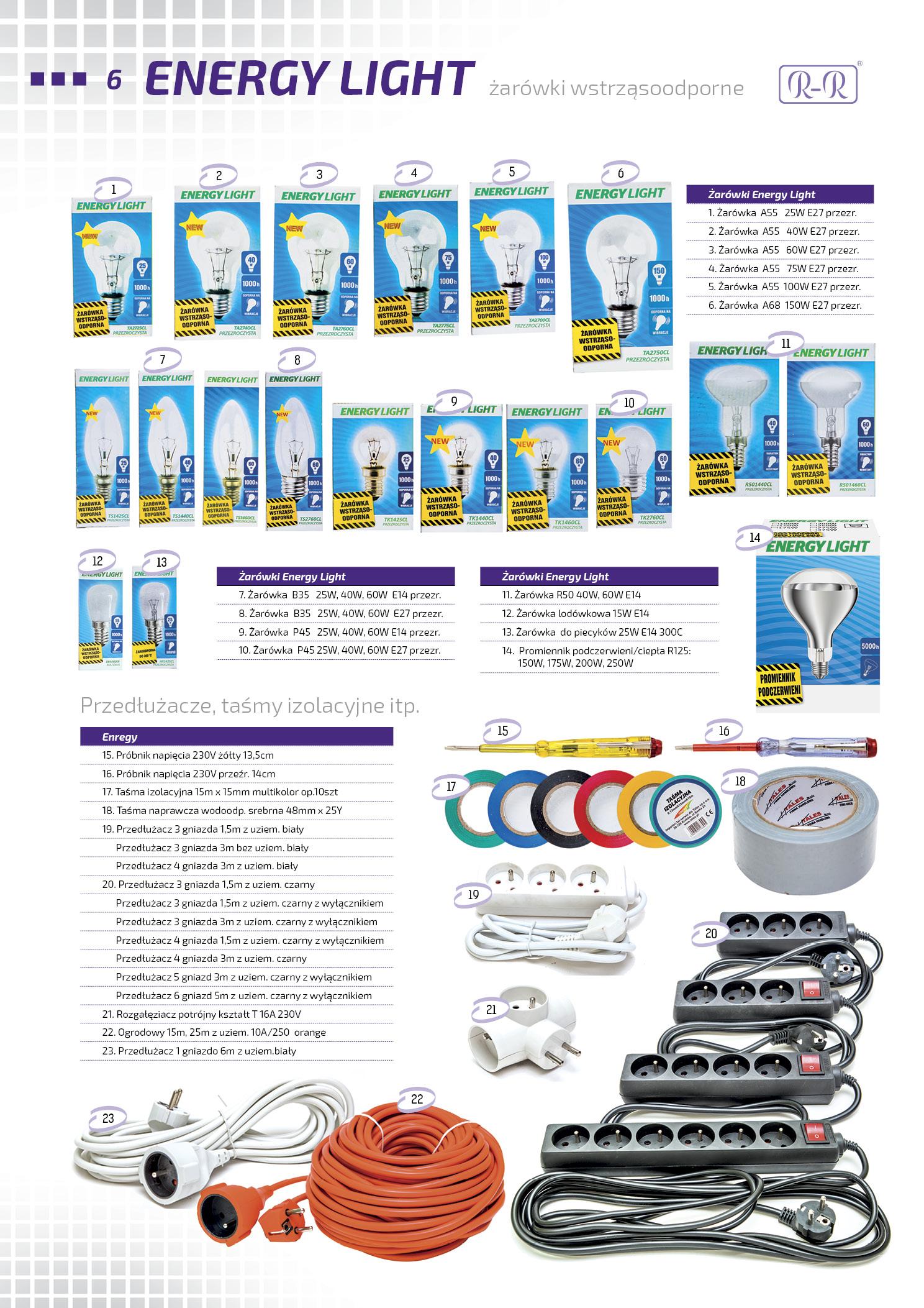 Żarówki tradycyjne Energy Light / Przedłużacze / Taśmy izolacyjne
